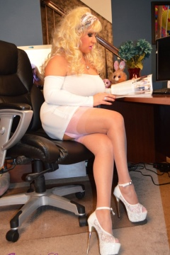 Samantha Legs Ditzy Secretary silk nylon legs tight white dress