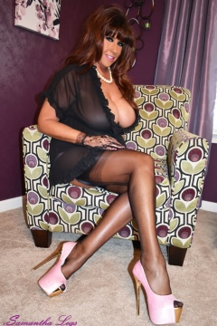 Samantha Legs big tits wife black nylons Waiting for Hubby